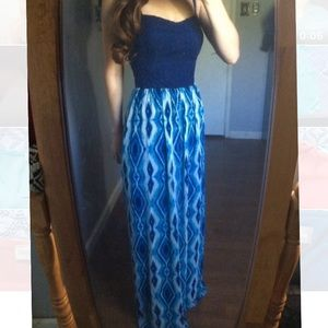Blue lily rose maxi dress